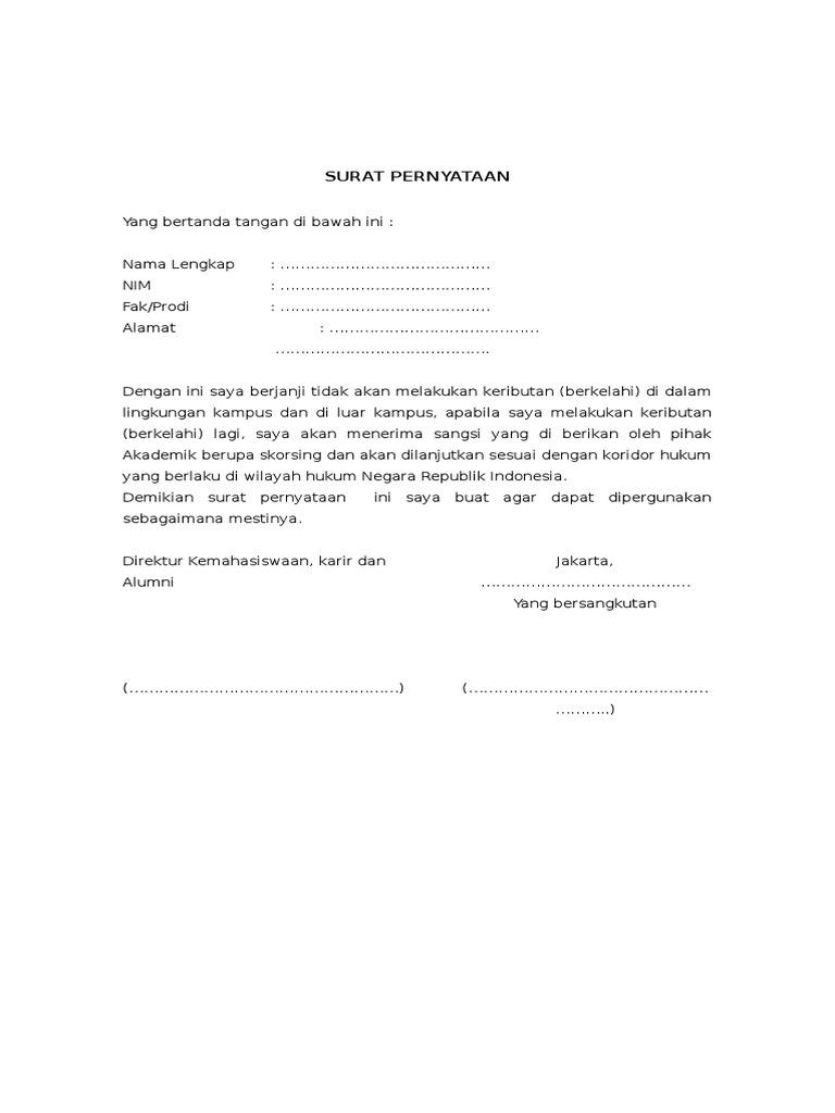Surat pernyataan berkelahi 1537287745v1 altavistaventures Choice Image