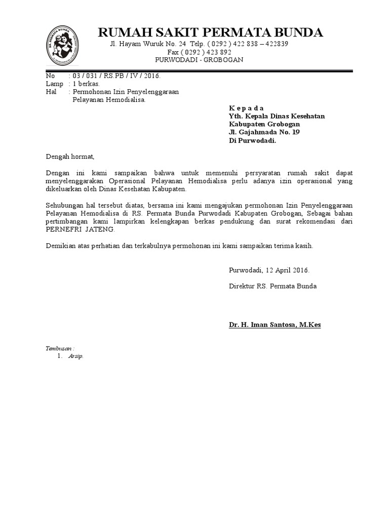 Contoh Surat Keterangan Operasi Dari Rumah Sakit Kumpulan