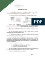 Affidavit of Loss for License Plates