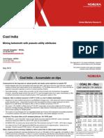 Nomura- Coal India -Mining Behemoth With Pseudo-utility Attributes
