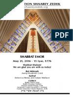 May 21, 2016 Shabbat Card