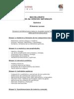 Quimica, I Bachillerato, Temario Supletorios Diferenciados