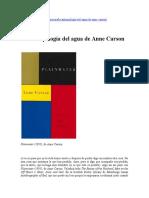 [Reseña] La Antropología Del Agua de Anne Carson