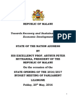 State of the Nation Address by President Peter Mutharika During Opening of the 2015-17 Budget Meeting_May 20_2016