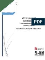 2016 Doctoral Conference Graduate School of Education University of Bristol