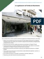 Trámite Para Solicitar La Legalización de Partida de Nacimiento Saren