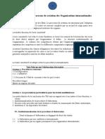 Processus de Création Des Organisations Internationales