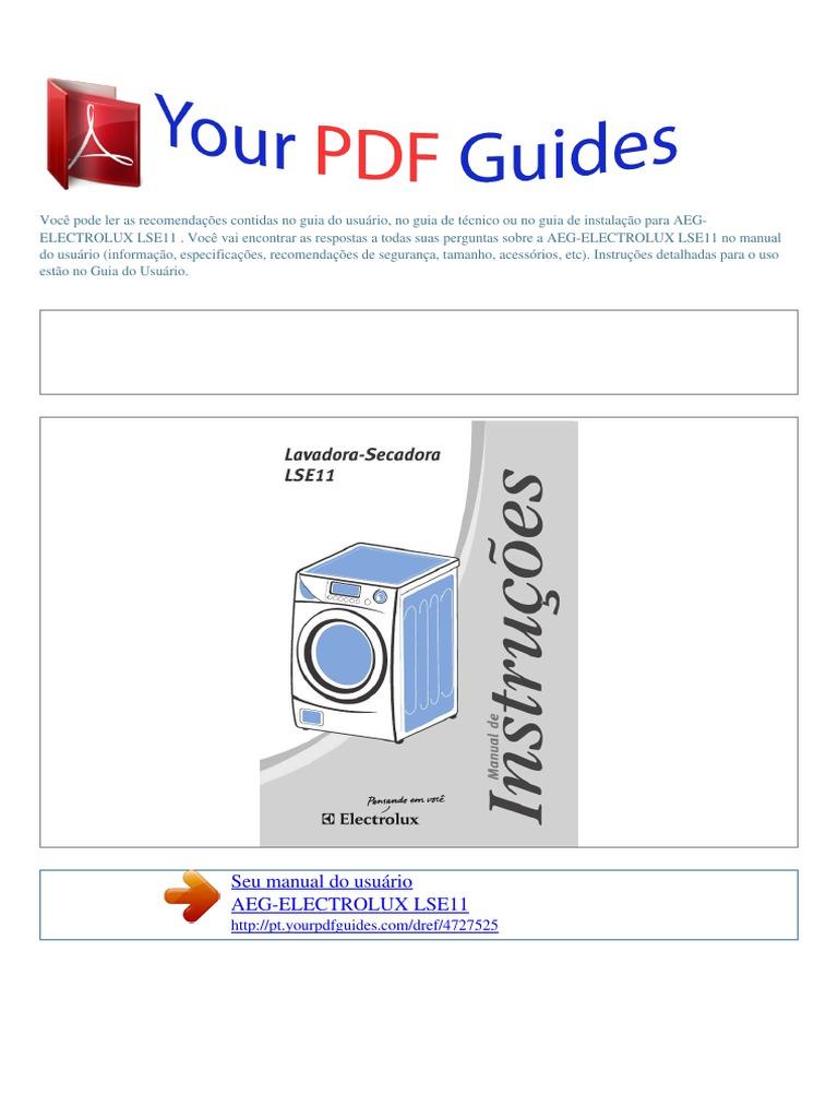 manual do usu rio aeg electrolux lse11 p rh es scribd com manual lava e seca electrolux lse11 manual lavadora electrolux lse11