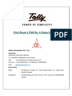 Print Buyer PAN No. in Invoice printed by Tally ERP
