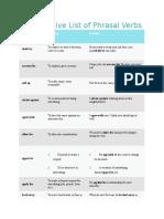 An Extensive List of Phrasal Verbs