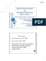 Multi-disciplinary vs Interprofessional Education