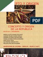 Exposicion Concepto y Origen de La Republica Romana