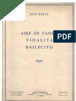 Aire de Tango, Vidalita, Bailecito -  for piano, by Jose Resta. (sheet music)