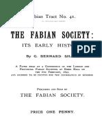 Fabian Society - Its Early History, The (Fabian Tract No 41 - Shaw - 1892) A