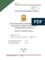 Informe Laboratorio Fisicoquímica Presión de Vapor