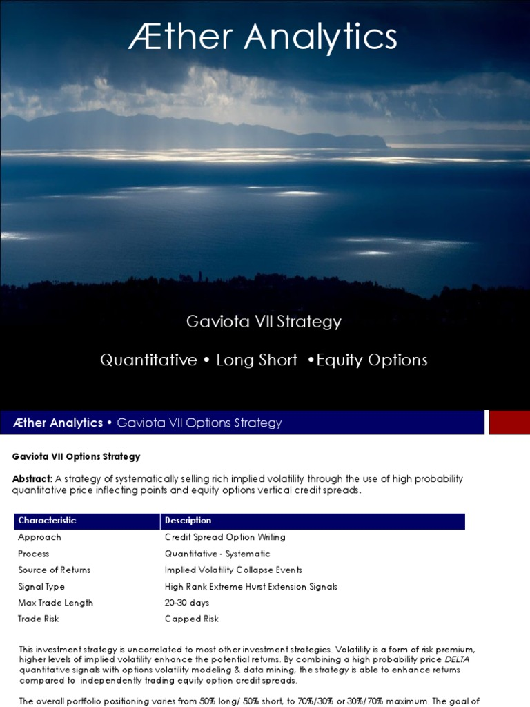Aether Gaviota Options VII Strategy   Volatility (Finance)   Option