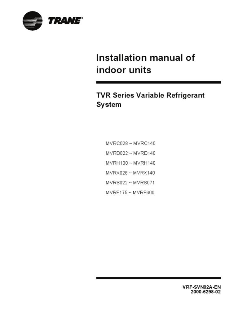 IOM-Indoor Inverter Trane | Duct (Flow) | Hvac