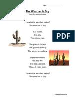 The Weather is Dry Kindergarten Reading Comprehension Worksheet (1)