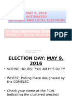 2016 National and Local Elections Pollwatchers Seminar