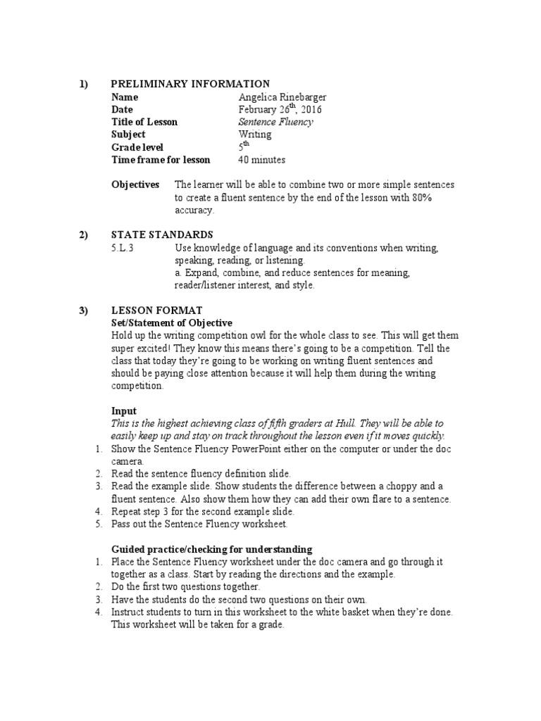 Worksheets Sentence Fluency Worksheets sentence fluency lesson plan semiotics