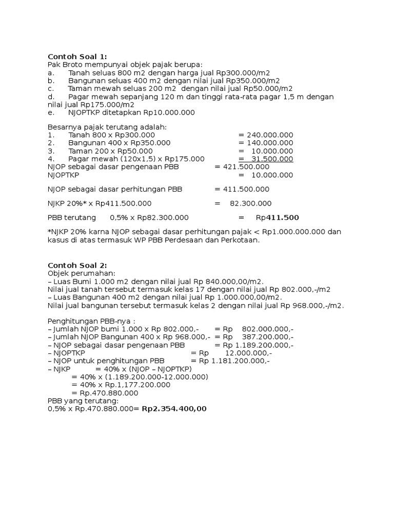 Contoh Soal Perhitungan Pajak Penerangan Jalan - Contoh ...
