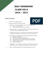Holiday Homework XIIA_2016