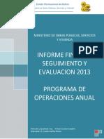 Seguimiento y Evaluacion Segundo Semestre 2013
