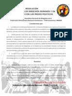 RESOLUCIÓN EN DEFENSA DE LOS DERECHOS HUMANOS Y EN SOLIDARIDAD CON LOS PRESOS POLÍTICOS COLOMBIANOS