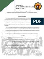RESOLUCIÓN RECHAZO A LA FIRMA DE LOS TRATADOS DE LIBRE COMERCIO -TLC