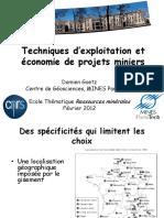 D. Goetz - Techniques Dexploitation Et Economie Des Projets Miniers