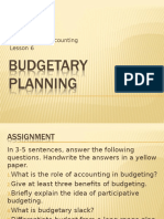 Lesson 6 Budgetary Planning