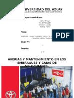 AVERÍAS Y MANTENIMIENTO EN EMBRAGUES Y CAJAS DE VELOCIDADES.