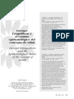 Georges Canguilhem y el estatuto epistemológico del concepto de salud.