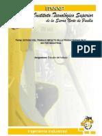 Estudio Del Trabajo y Su Impacto en La Productividad en El Sector Industrial