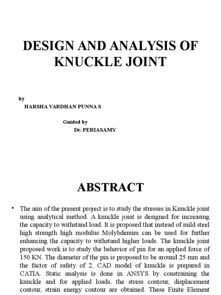Design And Analysis Of Knuckle Joint