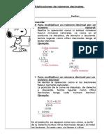 Guia de Multiplicación de Decimales.
