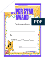 Free Printable Star Awards Certificate