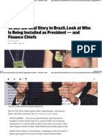 To See the Real Story in Brazil, Look at Who is Being Installed as President — and Finance Chiefs