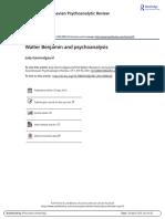 Walter Benjamin and Psychoanalysis