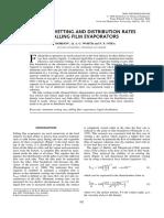 Minimum wetting and distribution rates in falling film evap