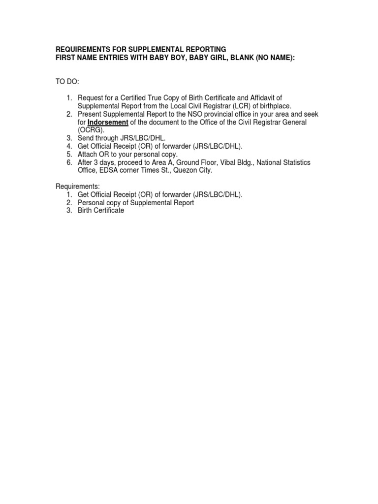 Requirements For First Time Requests Of Amended Psa Nso