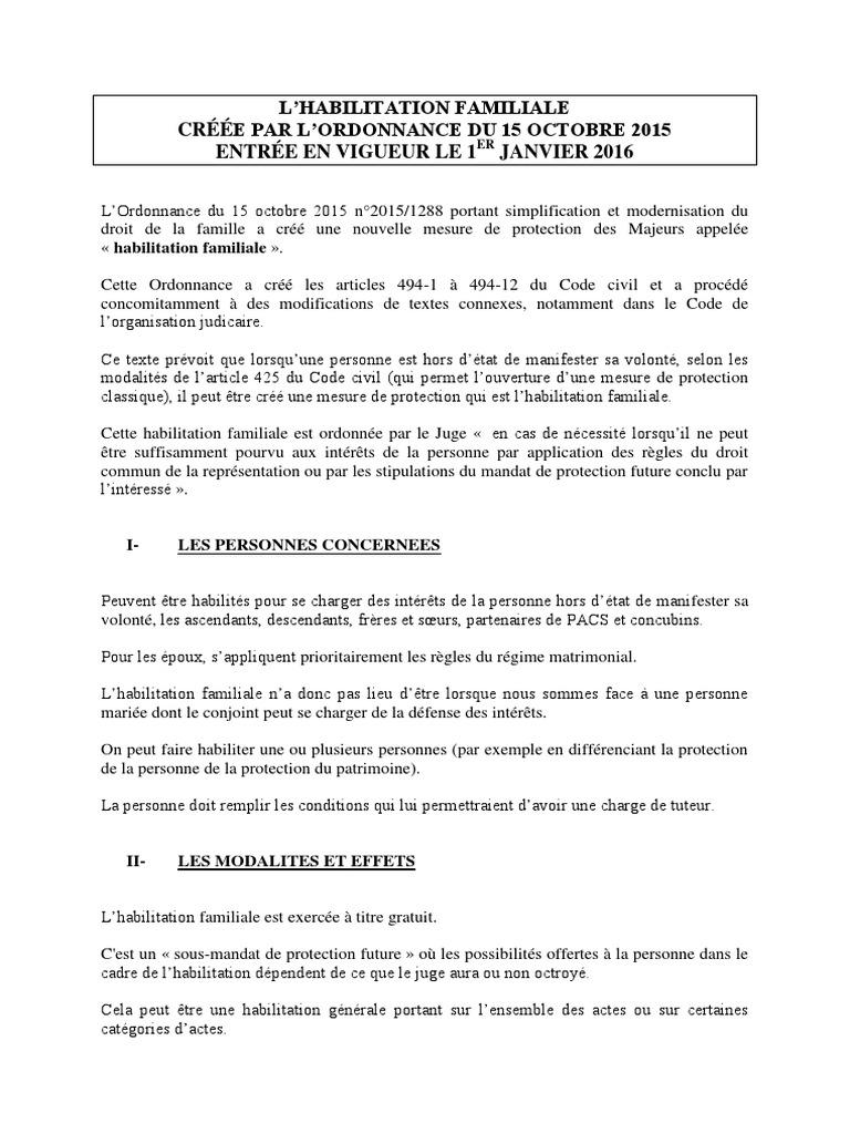 L Habilitation Familiale Creee Par L Ordonnance Du 15 Octobre 2015