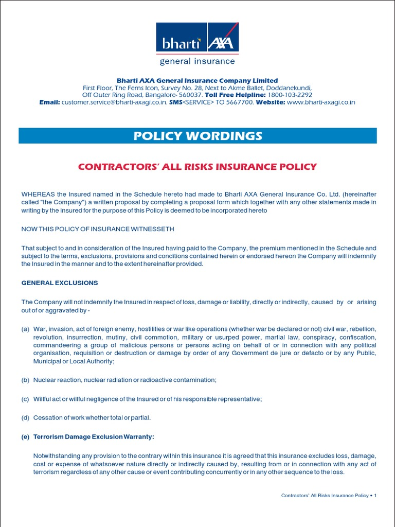 18. Contractors All Risks - Policy Wordings.pdf ...