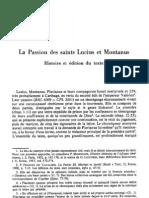 F. Dolbeau, La Passion des saints Lucius et Montanus