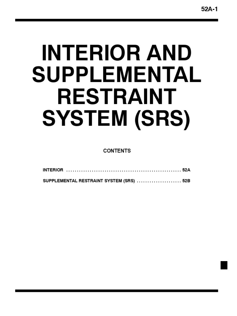 Interior And Supplemental Restraint System (Srs)