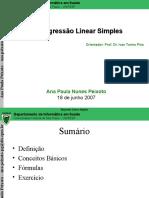 2007 06 18 Métodos Quantitativos I AnaPeixoto Regressão Linear Simples