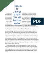 Sejarah Sistem Penyiaran Televisi Di Indonesia