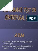 Performance test on Centrifugal pump