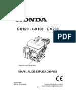 Motor Honda Gx120 Gx160 Gx200 Espagnol (35zh7620)