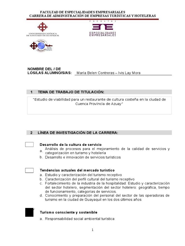 Formato de Tema de T.T. Trabajo de Titulación a-2016 TURISMO
